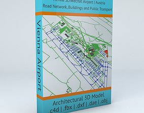 Vienna Schwechat VIE Airport Roads Buildings 3D model 2