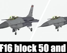 3D model realtime f16 block 50 and 52 low poly stylised