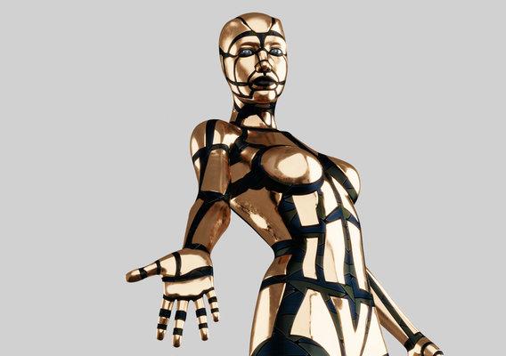 Golden Humanoid Robot