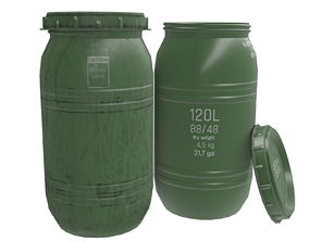 Game-ready Plastic Barrel - clean and dirty - 3D asset