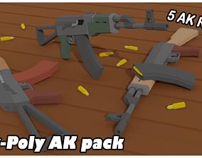 5 AK Rifles Low-Poly Pack 3D asset