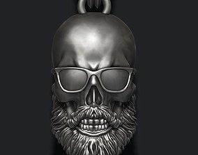 Bearded skull pendant with sunglass 3D printable model