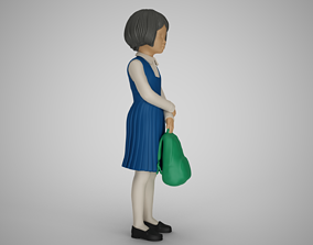Little School Girl Wait 3D printable model