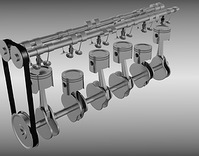 Animated six cylinder engine 3D