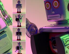 Robot Electron Mr D-Cell Tin toy retro vintage Battery 3D
