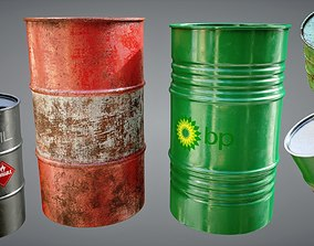 Oil Barrels Pack 3D asset game-ready