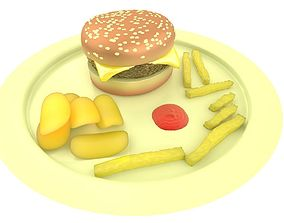 3D Burger Chips and Fries