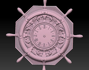 Clock 3D printable model bas-relief