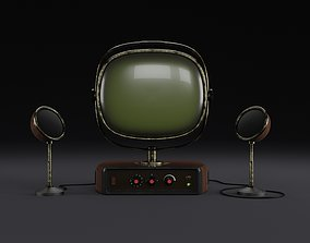 3D model Old look vintage tv set