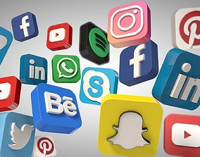 realtime Social Media Icons 3d