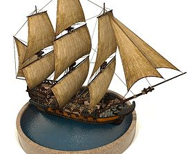 Pirate Ship 3D model animated