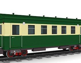 3D vintage vagon on rail way