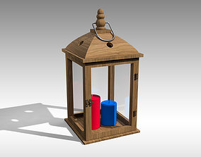 Wood Lantern 01 3D asset