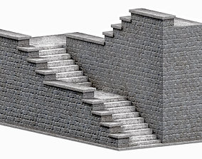 3D asset Stone stairs v3