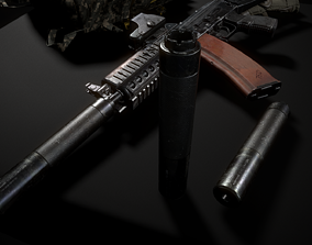 3D asset Silencer AK74