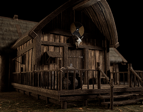 Viking Medieval House with interior and Props 3D asset
