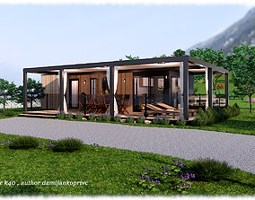 modern mobile home tiny house vacation house 3D asset 1