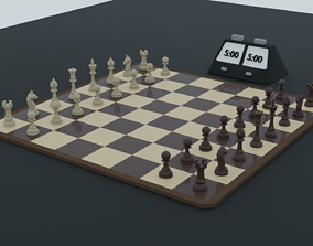 3D model Chess board with chess clock