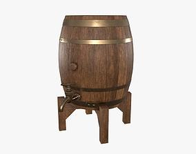 Wooden barrel for beer 02 3D