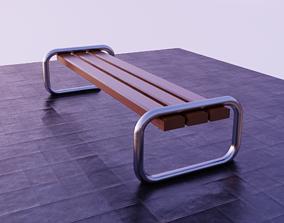 nature Bench 3D asset low-poly PBR