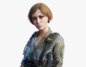 3D model rigged Army Girl 03