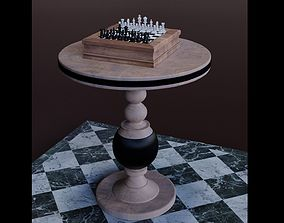 Chess with Wooden Table 3D model