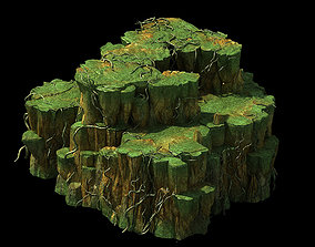3D oison Valley scene - rock walls covered with vines