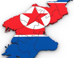 3D Political Map of North Korea