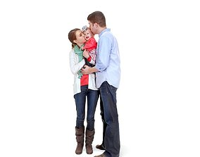3D model Family Kissing and Hugging a Child