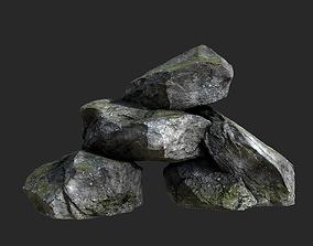 3D model VR / AR ready Mossy Rocks