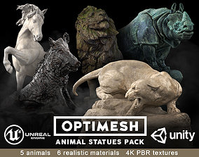 Animal Statues 3D PBR Pack lion puma rhino VR / AR ready 1