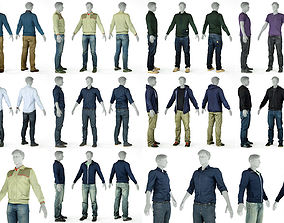 9 Casual Male Outfits V2 3D model footwear