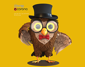 Toy Owl 3D model game-ready