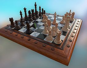 3D asset Chess Set - highpoly and lowpoly