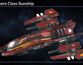 Spaceship Gunship Nightmare 3D asset