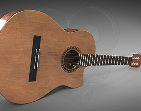 Classic guitar with cutaway 3D