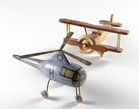 Helicopter and Wooden Bi Plane Airplane Toys 3D