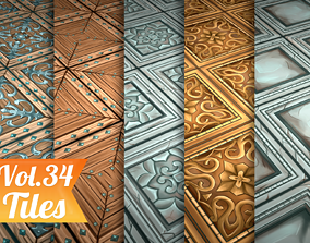 3D asset Stylized Wood Tiles Vol 34 - Hand Painted