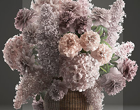 Bouquet of flowers in a basket 4 3D model