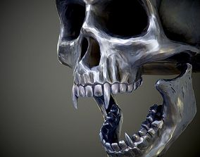 Steel skull with fangs PBR Game-Ready 3D asset