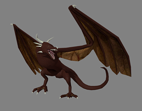 Rigged Horned Dragon Model rigged