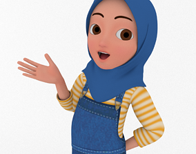 Cartooon Character Hijab Girl Blue Model Basic Rig rigged