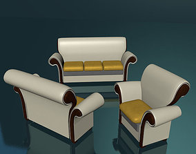 Leather set sofas low poly 3D asset