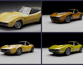 3D 70s generic sports car lineup