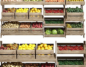 3D Rack with food and fruit