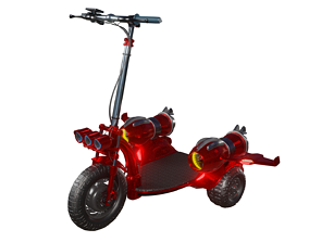 3D model Red tri-wheel electric scooter with turbojet and