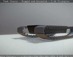 3D asset Rigged and Animated Tank Chains - 2