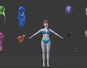 Cabellos Femeninos y Masculinos 3D model