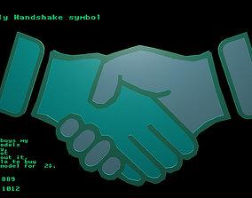 Low poly Handshake symbol 3D model