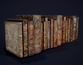 Medieval Books Row 3 Designs 1 2 and 3 3D model PBR
